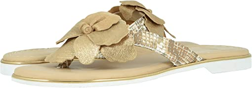 Gold Metallic Italian Suede/Snake-Print Italian Leather