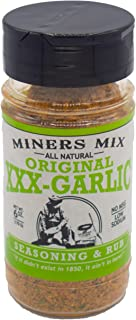 Miners Mix XXX Garlic Dry Rub For Oven Roasted, Grilled, or Smoked Beef, Steaks, Pork, Lamb, Vegetables, Camerones al Mojo de Ajo and Seafood. All Natural Low Salt No MSG 6 oz