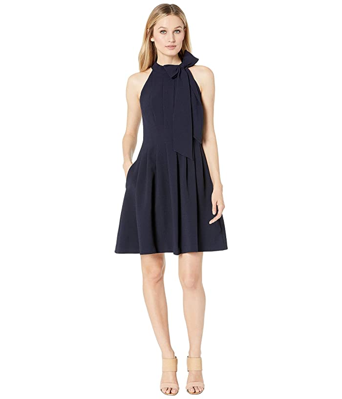 Vince Camuto Kors Crepe Fit Flare w/ Bow Neck (Navy) Women