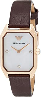 Emporio Armani Women's White Dial Leather Analog Watch - AR80028, Rose Gold