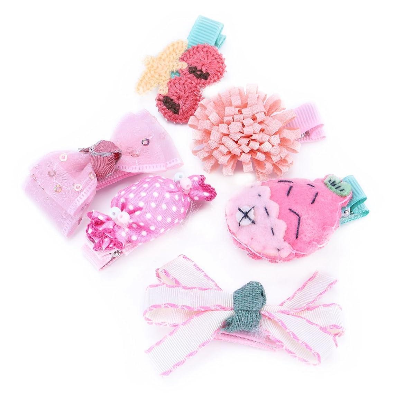 モネ分析するドナーSemoic 6個可愛いベビーガール用ヘアクリップ手作り布ちょう結びクラウンヘアピン幼児子供キッズためのヘアアクセサリーキット#9