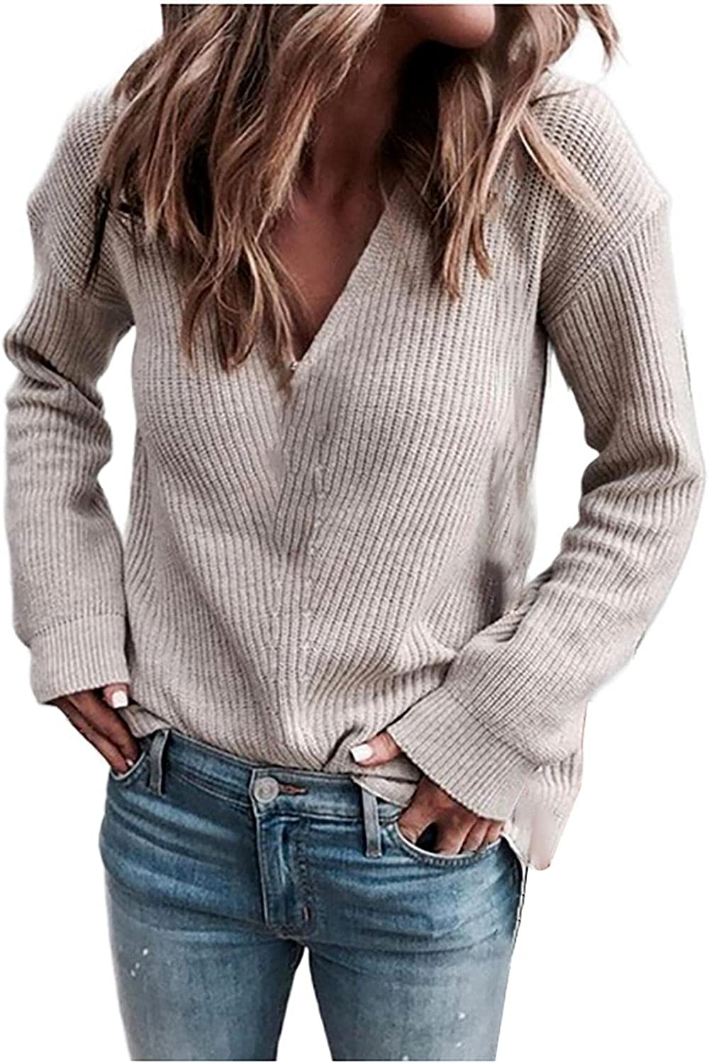 Gibobby Sweaters for Women,Women's Pullover Oversized Sweaters V Neck Casual Tops Long Sleeve Loose Knitted Soft Sweater