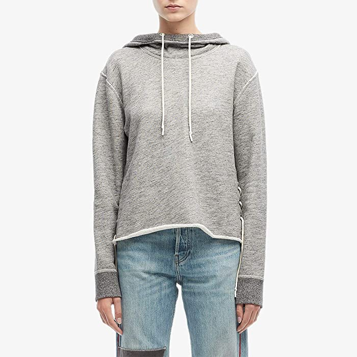 rag and bone  Amelia Lace-Up Hoodie (Heather Grey) Womens Clothing