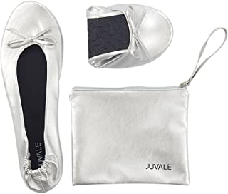 Juvale Foldable Ballet Flats - Women's Portable Ballerina Roll up Shoes with Matching Carrying Pouch for Travel, Silver