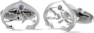 Charriol C-Logo Stainless Steel Plum Cubic Zirconia Stone Cufflinks