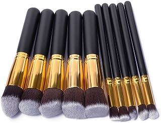 BUSKY Makeup Brushes Set 10 PCS Wood Handle Soft Nylon Bristles Kabuki Powder Blush Liquid Eyeliner
