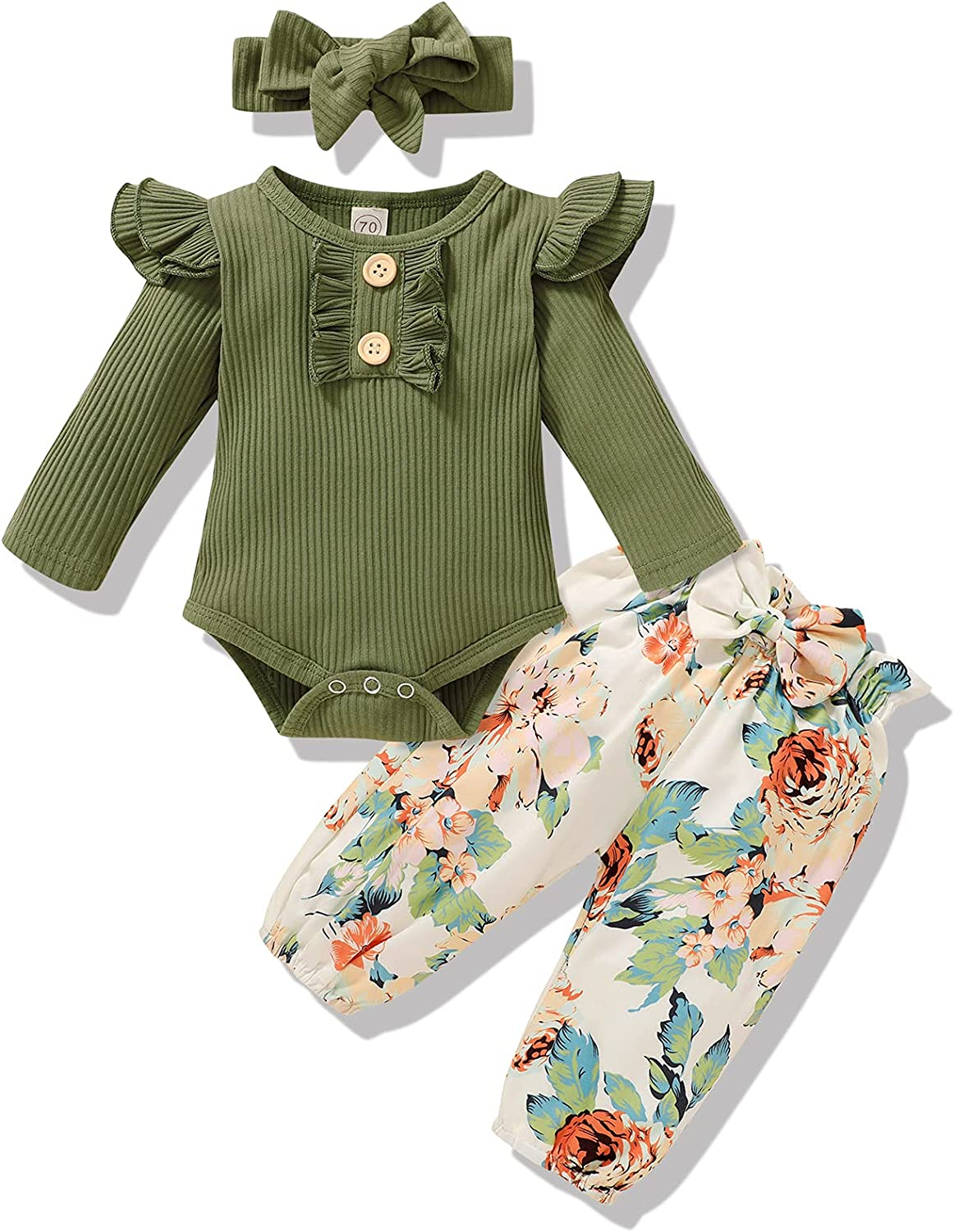 Infant Newborn Baby Girl Clothes Long Sleeve Ruffled Romper and Floral Bowknot Pants Headband 3PCS Fall Outfit 0-12M
