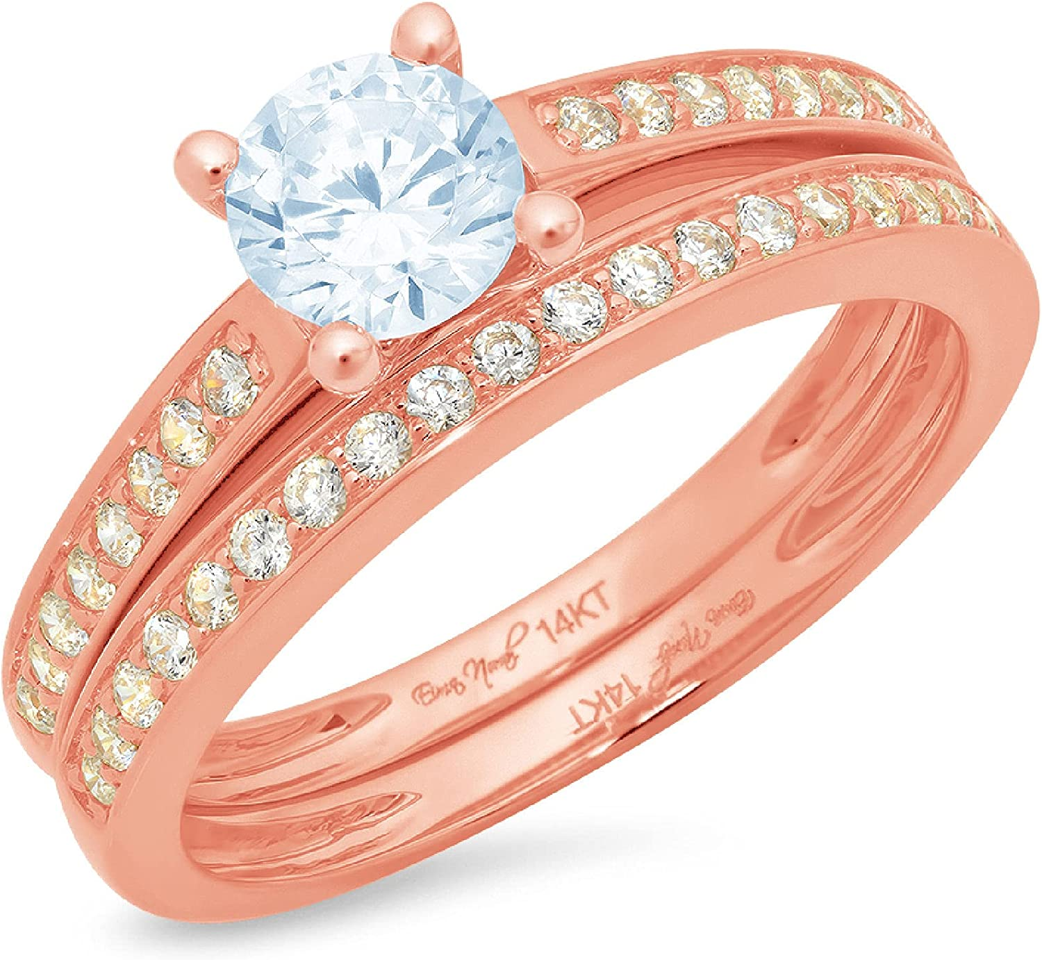 Clara Pucci 1.20ct Round Cut Pave Solitaire Accent Genuine Flawless Natural Sky Blue Topaz Engagement Promise Statement Anniversary Bridal Wedding Ring Band set Solid 18K Pink Rose Gold