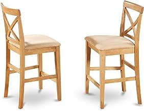 East West Furniture PBS-OAK-C X-Back Stool Set with Upholstered Seat, Oak Finish, Set of 2