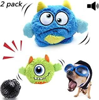 NEILDEN Interactive Dog Toys,Plush Squeaky Giggle Ball,Automatic Electronic Shake Dog Toy,Entertainment Suitable for Small to Medium Dogs Best Gift for Puppy(Two Plush Toys+Squeaker Ball)