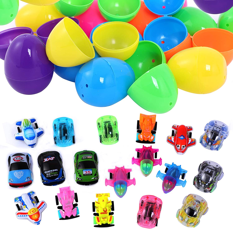 Ulikey 18Pcs Uova di Pasqua Piene di Giocattoli Easter Egg-f Uova di Pasqua Colori Assortiti Pasqua Colorate Uova Riempite con Veicoli Giocattolo Bambini di Pasqua