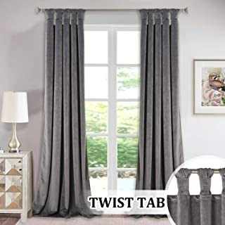 StangH Grey Velvet Curtains 84-inch - Twist Tab Top Design Blackout Drapes for Living Room/Bedroom Window Decor, W52 x L84-inch, 2 Panels