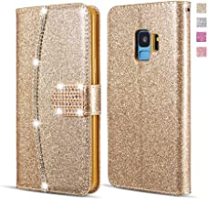 UEEBAI Wallet Flip Case for Samsung Galaxy S7 Edge, Premium Glitter Glossy PU Leather Case with Diamond Buckle [Card Slots] [Magnetic Clasp] Stand Function Rhinestone Strap Handbag TPU Cover - Gold