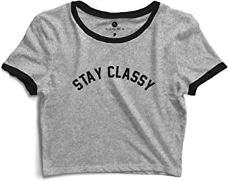 38c7a3217 Blusa Cropped Com Viés Morena Deluxe Stay Classy Cinza Preto
