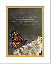 Friend Gifts with Bonds of Friendship Makes Us Sisters By Heart Poem. Butterfly Photo, 8x10 Double Matted. Special Best Friend Birthday Gift or for Friends.