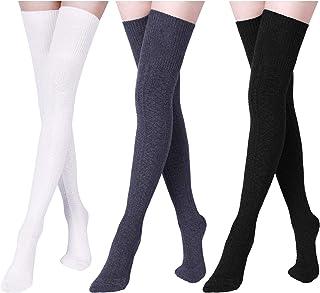 Boao 3 Pairs Women Extra Long Cotton Socks Thigh High Socks Over Knee Boot Socks for Women Girls Winter (white, black, gray)