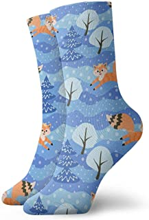 Jhonangel, Winter Forest Little Foxes Socks Crew para Hombres Mujeres Niños, Trekking, Rendimiento, Exterior 30 cm / 11.8 pulgadas