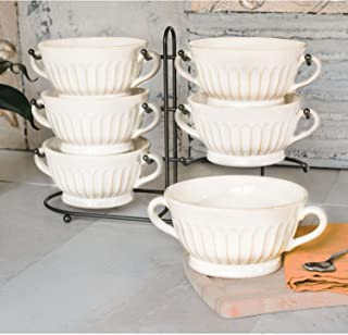 Stoneware Fluted Bowls, Set of 6 with Display Stand, Cream