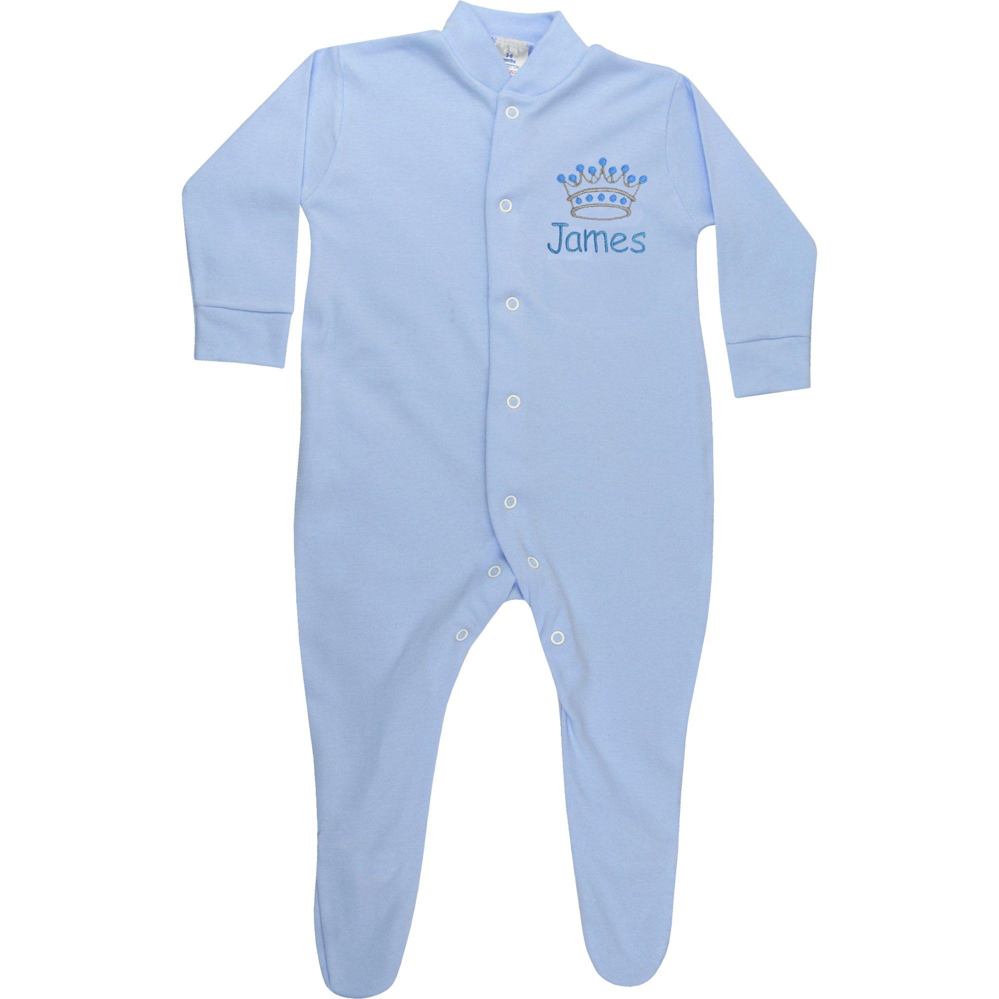 PERSONALISED BABYGROW HAT /& BIB SET NEWBORN//0-3 SLEEPSUIT PINK//BLUE GIRL//BOY