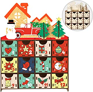 Aytai DIY Wooden Advent Calendar Christmas Advent Calendar, 24 Days Countdown Calendar for Christmas Holiday Decorations, 24 Opening Drawers