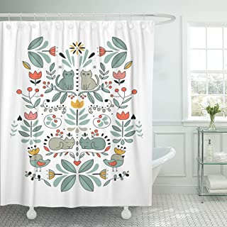 Emvency Shower Curtain Funny Swedish Folk Cartoon Cats Birds and Flowers Ethnic Waterproof Polyester Fabric 72 x 72 Inches Set with Hooks