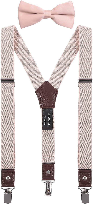 SUNNYTREE Kids Suspenders Bow Tie Set Y Back Adjustable Elastic