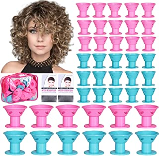 60pcs Magic Hair Rollers Silicone Hair Curlers Set Large and Small Rollers for Hair Magic Curls Heatless Hair Curlers for ...