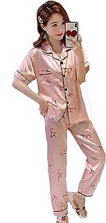 Fashring Women's Long Pant Short Sleeve Round Neck Button Pocket Cherry Print Summer Nightwear Sleepwear Pajama Set