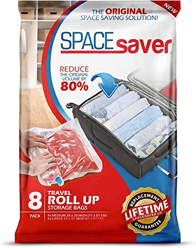 wholesale Spacesaver Premium Travel Roll Up Compression Storage Bags for Suitcases -No Pump or Vacuum Needed - Perfect for sale traveling! (Travel 8 outlet online sale Pack) outlet sale