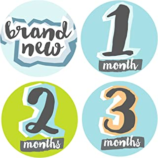 Bobee Baby Boy Milestone Stickers Memory Props, 13 Stickers Months one - Twelve and Brand New Sticker
