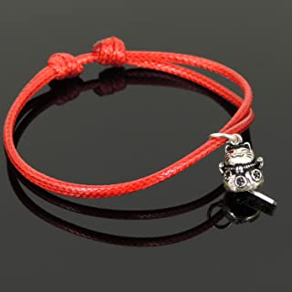 Silver Lucky Cat Charm Maneki Neko Pendant Bright Red Wax Rope Bracelet Genuine 925 Sterling Silver Chinese Calligraphy Scrolls Blessing Wealth Protection Meditation Minimal Jewelry Elegant Statement