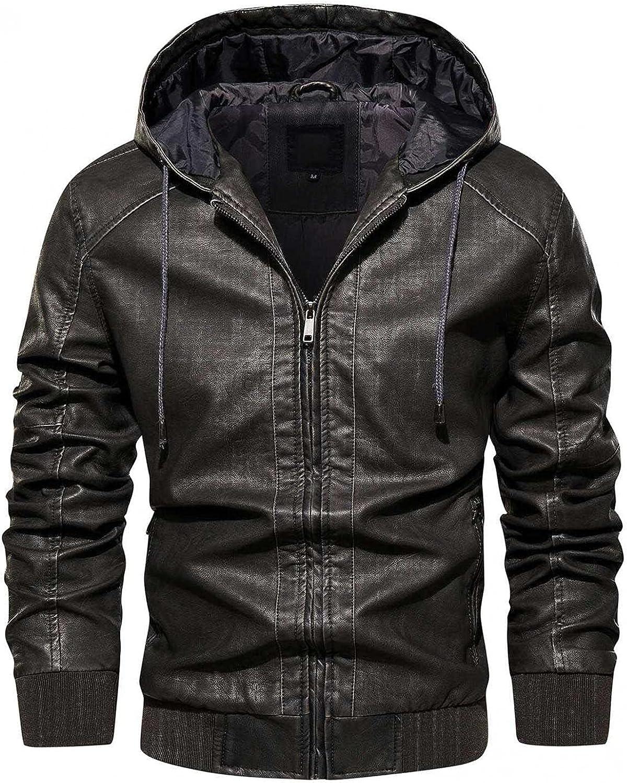 Men's Leather Jacket Bomber Fleece In stock Hooded safety Sweatshir Coats