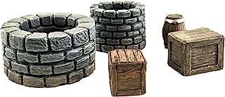 War World Gaming Fantasy Village Set of Wells, Crates & Barrels – 28mm Heroic Scale Wargaming Terrain Model Diorama Scener...