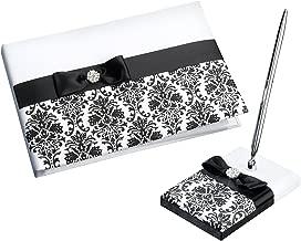 Lillian Rose Black and White Damask Wedding Guest Book Pen Set