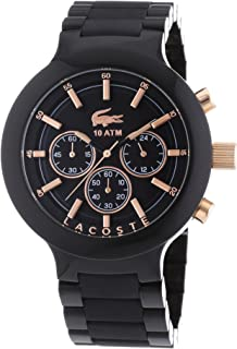 Lacoste 2010769 Silicone Round Analog Watch for Men - Black