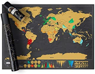 Rubik Scratch Off Map Of The World, International Scratch Off World Travel Map Poster, Fun & Colorful Scratch Poster, Perf...