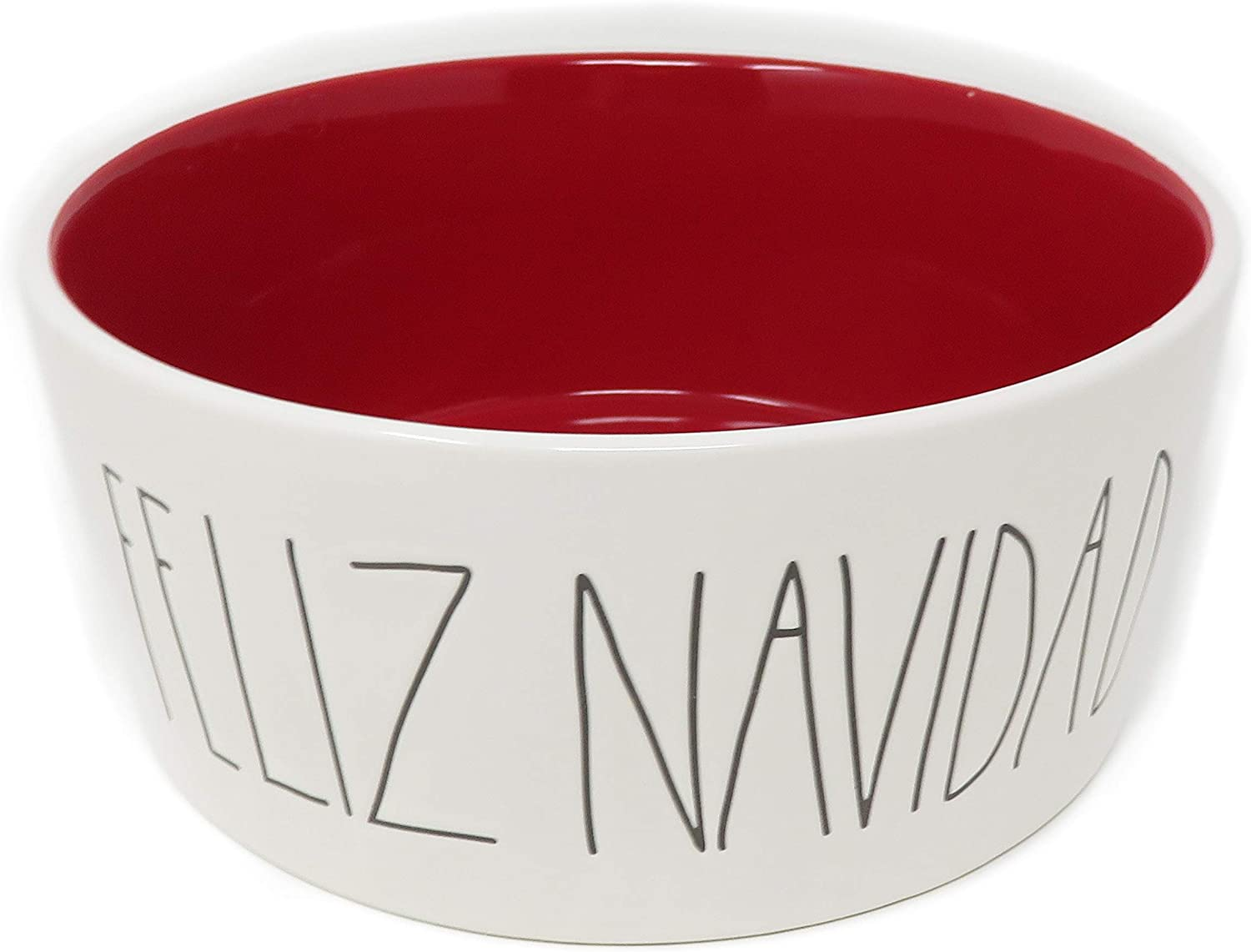 Rae Dun Magenta Christmas Ceramic Pet Dog Feeding Bowl Feliz Navidad   Extra Large  Diameter  8 inch   Red Interior