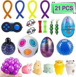 Elongdi Sensory Fidget Toys Set [ 21 Pack ] Bundle Sensory Toys Set - Fidget Pad/Mochi Toys/Squeeze-a-Bean/Magic Ball/Stre...
