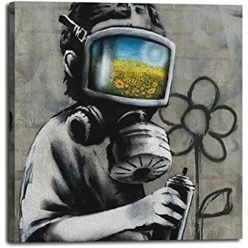 Extra Large Canvas Wall Art Picture Print Banksy Child Boy masked CC10