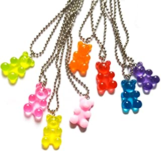 6-8Pcs Cute Cool Colorful Resin Gummy Bear Beads Link Chain Pendant Necklace Funny Lovely Candy Color Cartoon Animal Neckl...