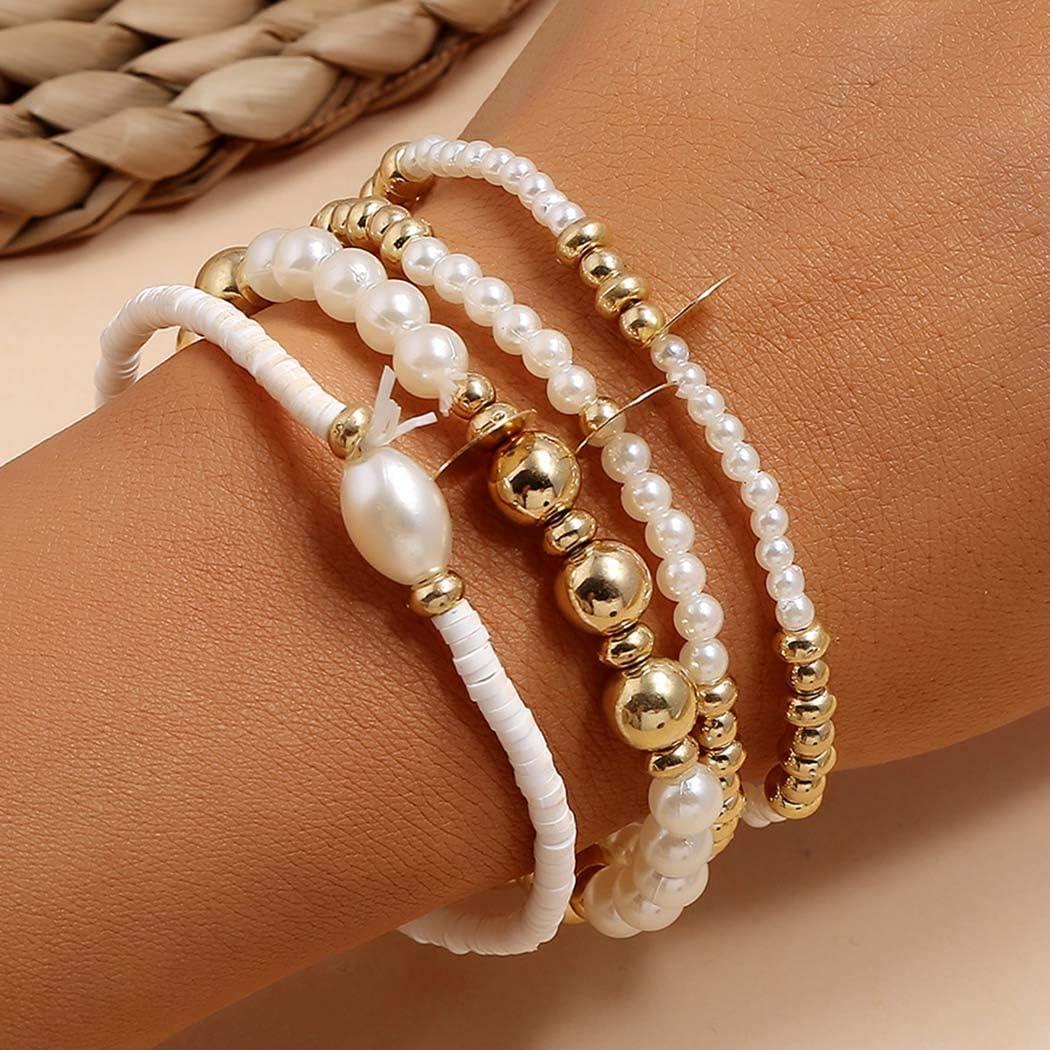 Sakytal Boho Pearl Stretch Bracelets White Sequins Bracelet Set Beaded Bracelet Jewelry for Women and Girls(4Pcs)