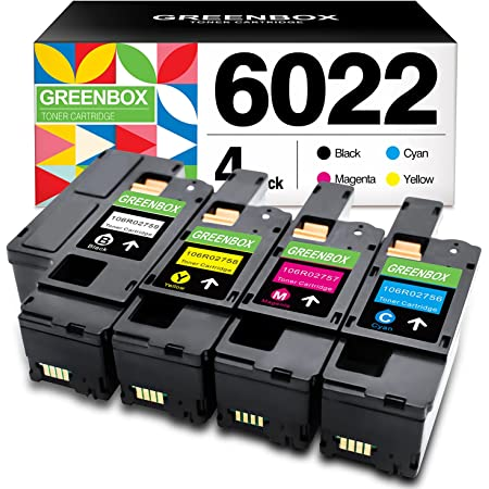GREENBOX Remanufactured Toner Cartridge Replacement for Xerox WorkCentre 6027 6025 Phaser 6022 6020 (1 Black 106R02759 1 Cyan 106R02756 1 Magenta 106R02757 1 Yellow 106R02758)