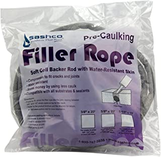 Sashco 30120 1-1/8-Inch by 10-Feet Pre-Caulking Filler Rope Backer Rod, Grey