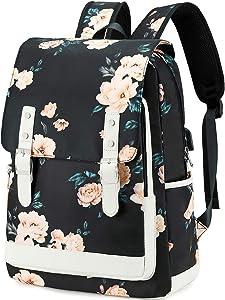 School Backpack for Teen Girls Women Bookbag School Bag 15.6 inch Laptop Backpack Daypack for School Travel (Floral Black)