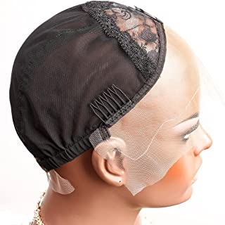 Bella Hair Breathable Lace Front Wig Cap for Making Wigs with Adjustable Straps and Combs Swiss Lace Black Large Size