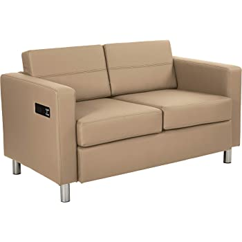 Office Star Atlantic Vinyl Loveseat with Dual Charging Station and Silver Finish Legs, Dillon Buff