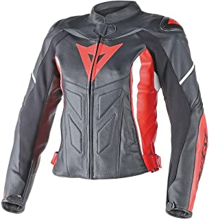 Dainese Avro D1 Womens Leather Motorcycle Jacket Black/Red/White 46 Euro/8 USA