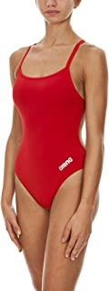 Arena Women's Mast MaxLife Thin Strap Open Racer Back One Piece Swimsuit, Red/Metallic Silver, Size 34