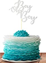 Starsgarden Silver Glitter Boy Oh Boy Cake Topper It's a Boy Cake Topper for Baby Shower,Gender Reveal, It's a Prince, Baby Birthday Party Decorations Supplies Gold Glitter (Silver Boy)