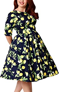 Women's Plus Size Vintage Floral 3/4 Sleeve Casual Swing Dress